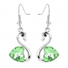 MaDouGongZhu R006-4 Elegant Crystal Love Heart Swan Style Earrings - Green + Silver (Pair)