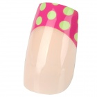 French Style 24-in-1 Polka Dot Pattern Long Artificial Nail Set w/ Glue - Deep Pink + Green