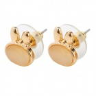 MaDouGongZhu R004-2 Cute Rabbit Style Ear Studs - Golden (Pair)