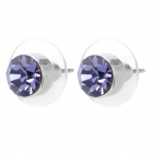 MaDouGongZhu R028 Lady Round Ohrstecker w / Strass - Purple + Silber (Paar)