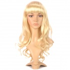 Sweet Cute Lady's Neat Bang Long Curly Wig - Light Golden