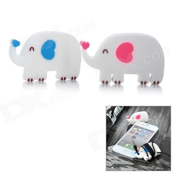 Cute Elephant Style Silicone Earphone Cable Winder - White (2 PCS)