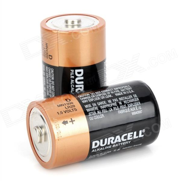 DURACELL 1.5V D-Type MN1300 LR20 Alkaline Battery - Black + Golden (2 PCS) gp disposable 800mah alkaline lr1 size n batteries golden 1 5v 2 pcs