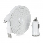 Car Cigarette Lighter Powered USB Charger w/ USB Cable for Samsung / HTC / Nokia + More - White