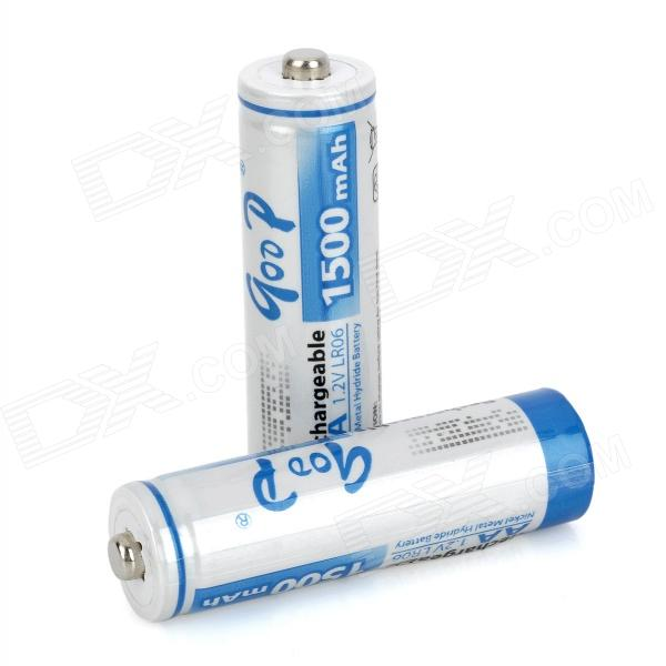 GD-AA-2B-2 Rechargeable 1.2V 1500mAh AA NiMH Battery - white+ Blue (2 PCS) аккумулятор aa beston 1300 mah nimh 2 штуки