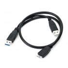 USB 3.0 Mate to USB w/ Charging Connection Cable - Black (60cm / 15cm)