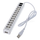 Dual Switch 12-Port USB 2.0 Hub w/ AC Power Charger - White (110~240V / 2-Flat-Pin Plug)