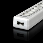 Dual Switch 12-Port USB 2.0 Hub con cargador de corriente alterna - Blanco (110 ~ 240V / 2-Flat-Pin Plug)