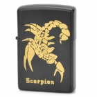 Scorpion Pattern Zinc Alloy Oil Lighter - Black