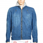 Stand Collar Cotton Denim Cowboy Jean Jacket Outerwear w/ Hat for Men - Denim Blue (Size-XL)