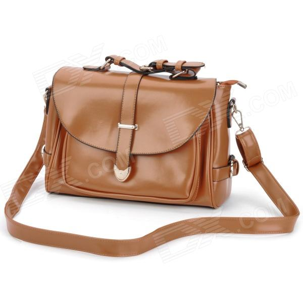 Fashionable Retro PU Leather One Shoulder Messenger Bag for Women - Brown (120cm-Strap)