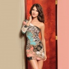 Sophisticated Sexy Elegant One-Shoulder Print Meryl Dress - Multi-Color (Size M)