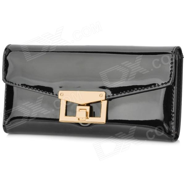 Fashion PU Patent Leather Credit Name Card 2-Fold Long Wallet Purse - Black