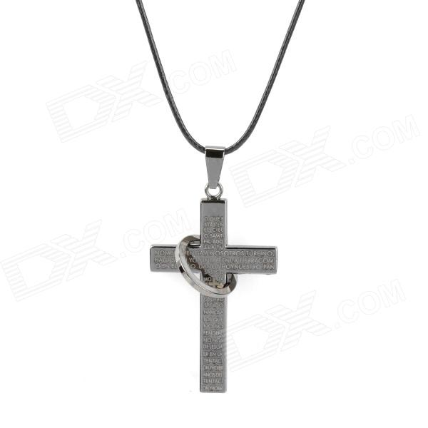 Retro PVC Chain Titanium Steel Cross Pendant Necklace for Men - Black + Silver (40cm)