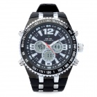 WEIDE WH1107 Sports Man's Rubber Band Quartz Analog + Digital Waterproof Wrist Watch - Black