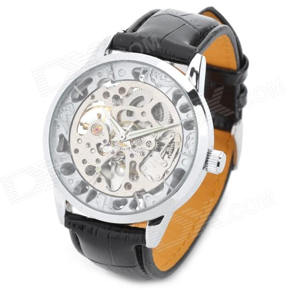 CJABA GK8009-S Artificial Leather Band Mechanical Analog Skeleton Wrist Watch - Black + Silver