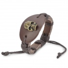 Skull Head Style Cow Leather Bracelet Wristband for Men - Brown (19cm)