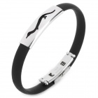 Fashion Dinosaur Style Silicone Bracelet Wristband - Black + Silver