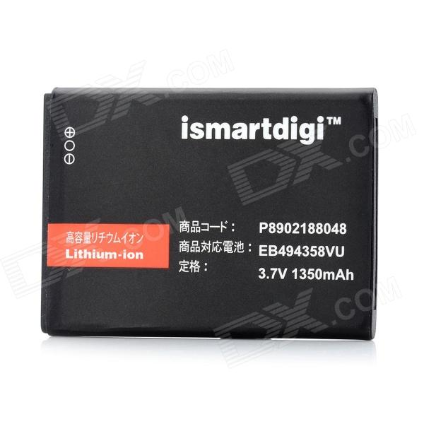 ISMARTDIGI Replacement EB 494358VU 3.7V 1350mAh Battery for Galaxy Ace s5830 / Galaxy Gio - Black replacement dual core 1600mah li ion battery for samsung galaxy ace s5830 2 pcs