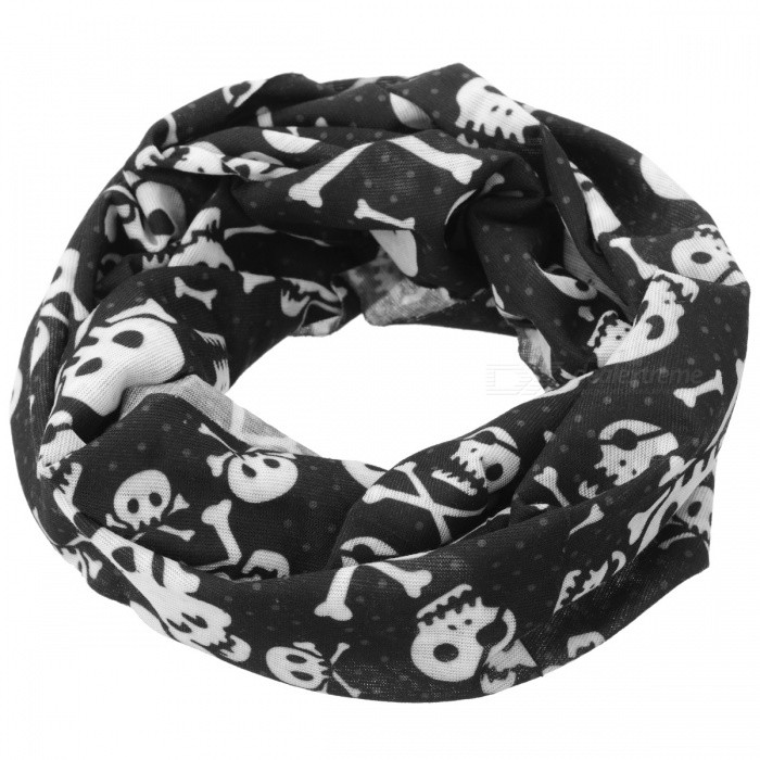 Skull Heads Pattern Seamless Outdoor Cycling Headcloth kerchief Scarf - Black + White skull pattern outdoor motorcycle face mask shield guard white black free size