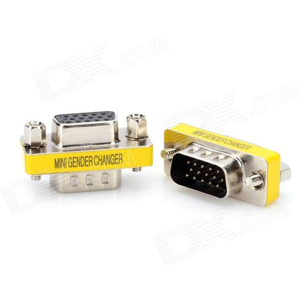 VGA 15pin Male to Female Adapter - Silver + Yellow (2 PCS) jiahui rs232 com male to male adapter connectors silver 2 pcs