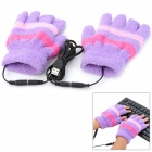 Causal Stripe Style USB Power Heated Half-Finger Warm Gloves for Women - Purple (Pair / Free Size)