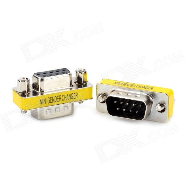 DE9 Serial RS-232 9pin Male to Female Adapter - Silver + Yellow (2 PCS) jiahui rs232 com male to male adapter connectors silver 2 pcs