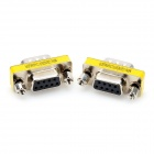 DE9 Serial RS-232 9pin Male to Female Adapter - Silver + Yellow (2 PCS)