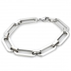 Cool Oblong Stainless Steel Bracelet for Men - Silver
