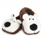 0716 Cute Bear Doll Cotton Anti-Slip Baby Shoes - Brown (Pair)