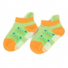 1004 Cute Frog Pattern Cotton Anti-Slip Baby Socks -Green + Stone Yellow (Pair)