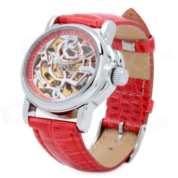 CJIABA LA2012-R Rose Pattern Artificial Leather Band Mechanical Analog Skeleton Wrist Watch - Red cjiaba gk8001 w pu leather band analog skeleton mechanical wrist watch for men black white