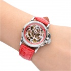CJIABA LA2012-R Rose Pattern Artificial Leather Band Mechanical Analog Skeleton Wrist Watch - Red