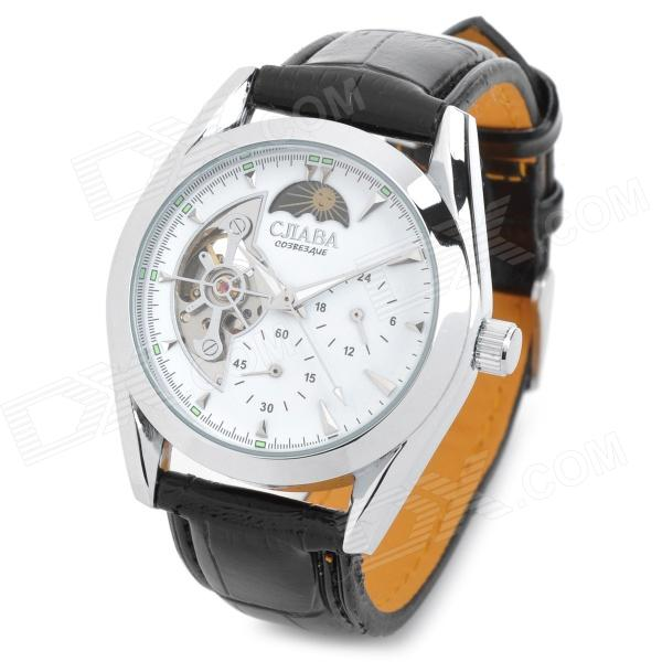 CJABA GX-505 Artificial Leather Band Mechanical Analog Skeleton Wrist Watch - Black + White