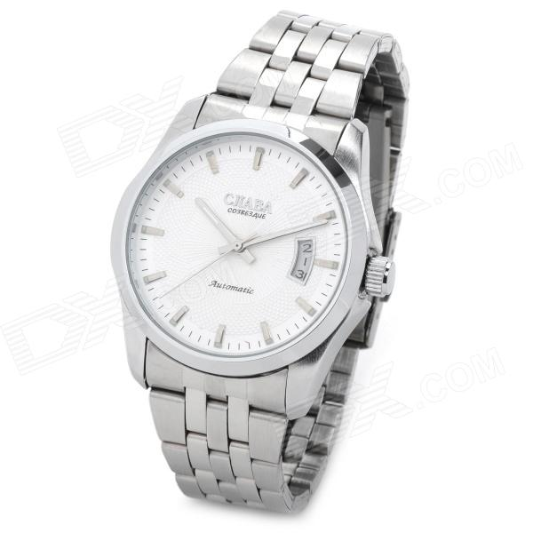 CJIABA GA9010-2 Stainless Steel Band Mechanical Analog Wrist Watch w/ Calendar - White + Silver