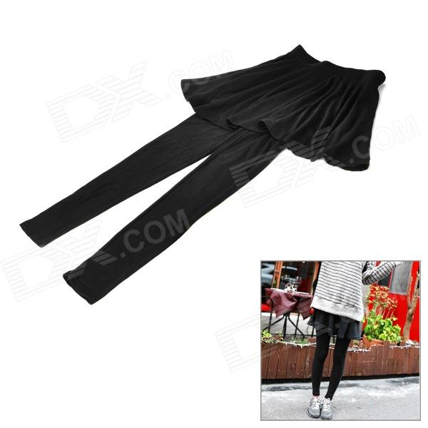 Women's A Type Short Skirt Siamese Trousers - Black