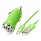 USB Data / Charging Lightning Cable + Car Charger Set for iPhone 5 - Green