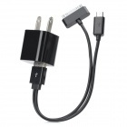 USB Power Charger Adapter w/ 30-Pin + Micro USB Cable for iPhone / HTC / Samsung - Black (US Plug)