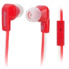Mosidun MSD-500 Flat In-Ear Earphones w/ Microphone for Iphone / Samsung / Nokia - Red + White