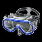 Fashion Toughened Glass Lens ABS Frame Diving / Swimming Glasses Goggles Mask - Blue + Transparent