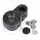 MG13102 Mini 45X Microscope w/ 2-LED Illumination + Currency Detector Light - Black (3 x LR1130)