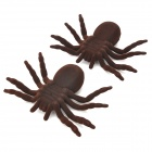012 Scary Lifelike Flannelette Spider Toys - Brown (2PCS)