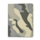 Protective PU Leather Stand Case for iPad 2 / 3 - Black + Khaki + Grey