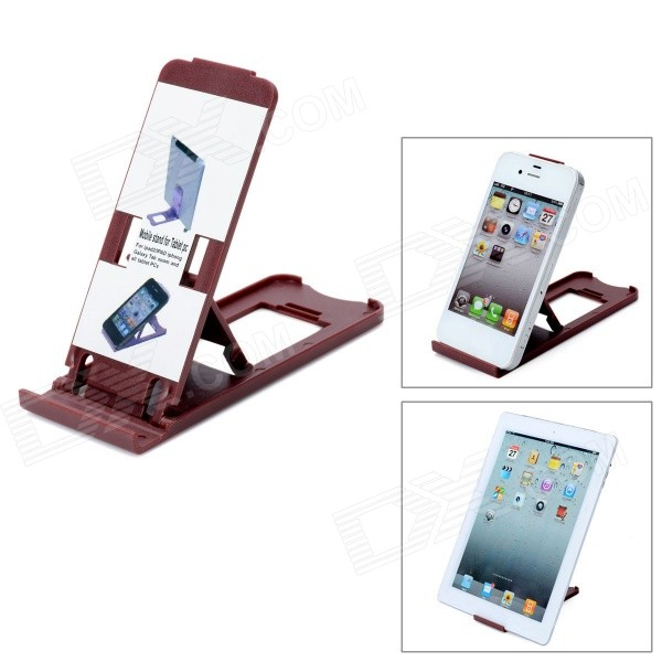 все цены на Portable Compact Foldable 5-Level Plastic Stand Holder Support for Iphone / Ipad - Coffee онлайн