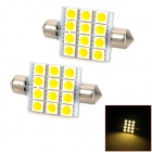 Festoon 41mm 2.16W 12-5050 SMD LED Warm White Light Car Reading / Interior / Door Lamp (12V / 2 PCS)
