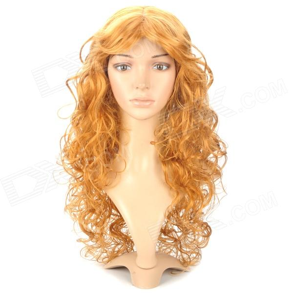MH003 Fashionable Lady's Long Curly Hair Wig - Yellow