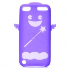 Angel Protective Silicone Back Case w/ Screen Protector + Cleaning Cloth for Ipod Touch 5 - Purple