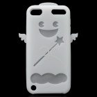 Angel Protective Silicone Back Case w/ Screen Protector + Cleaning Cloth for iPod Touch 5 - White
