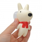 Plastic Cartoon Dog Doll w/ Suction Cup - White + Black + Red