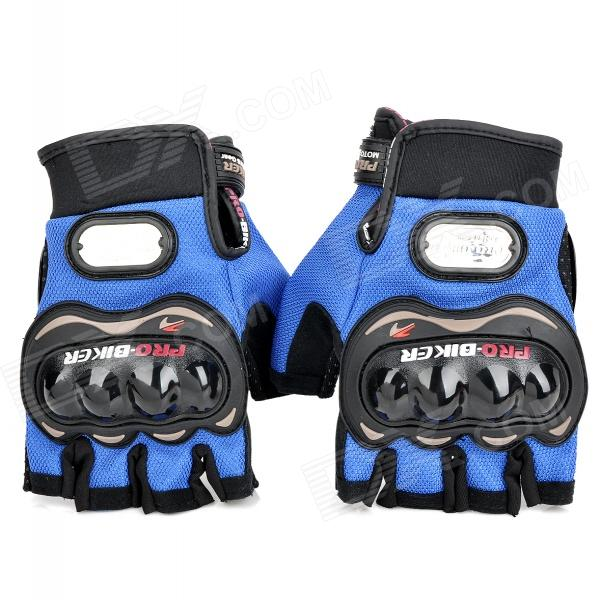 PRO-BIKER MCS-04 Motorcycle Racing Half-Finger Protective Gloves - Blue + Black (Size L / Pair) universal nylon cell phone holster blue black size l